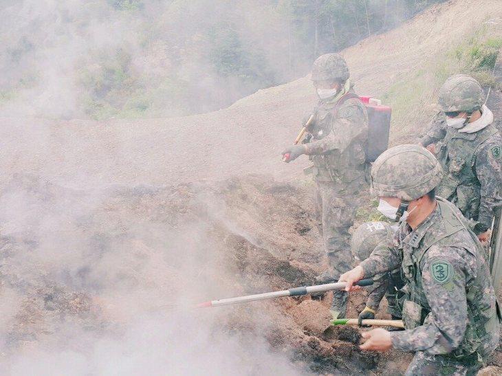 6-2 육군 23사단 장병들이 산불진화에 사투를 벌이고 있다..jpg